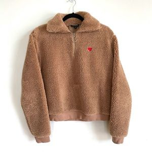 Top Shop Fuzzy Teddy Jacket with Red Heart Patch